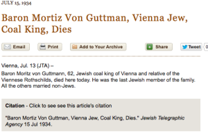 Baron Mortiz Von Guttman, Vienna Jew, Coal King, Dies_1351799956608